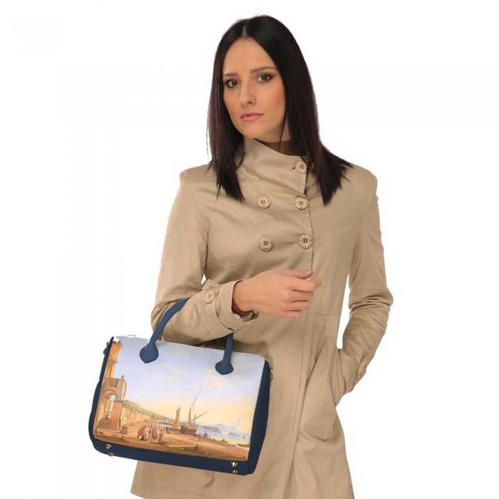 vestibilità borsa artigianale  in pelle bauletto dafne dal mare macri segni creativi