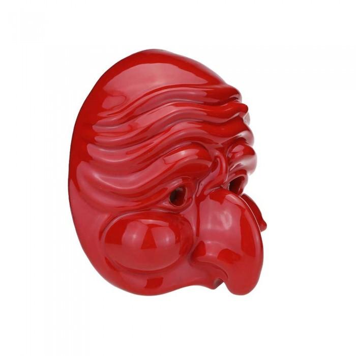 Maschera di Pulcinella in Terracotta Media Rosso